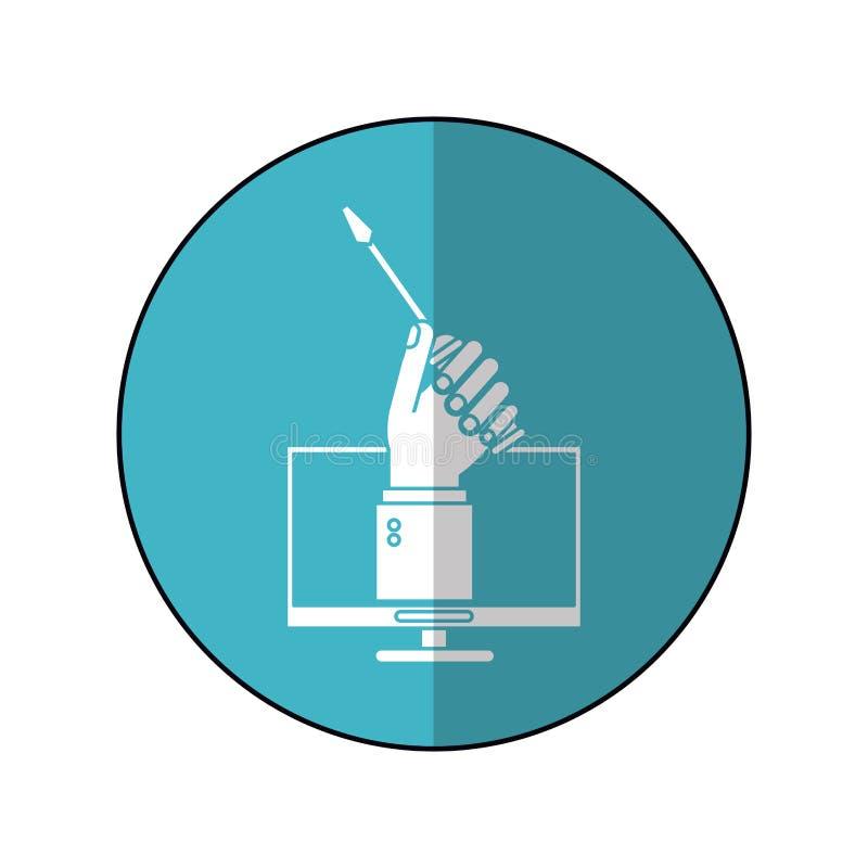 Komputerowa ręka trzyma śrubokrętu okręgu w budowie błękitnego cień ilustracja wektor