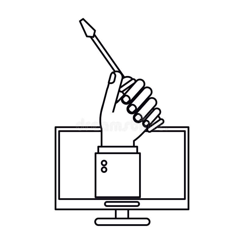 Komputerowa ręka trzyma śrubokrętu w budowie szyldowego kontur ilustracja wektor