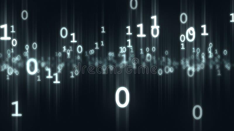 Komputerowe binarne kawałków i bajtów liczb cząsteczki świadczenia 3 d ilustracji