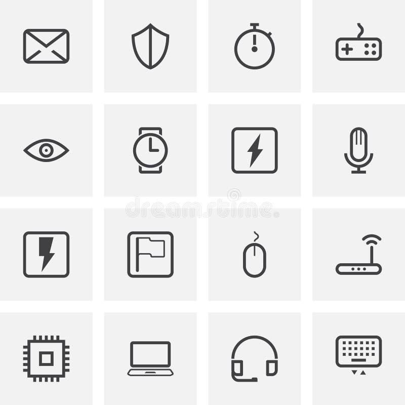 Komputerowe cechy ogólnej linii ikony ustawiać ilustracja wektor