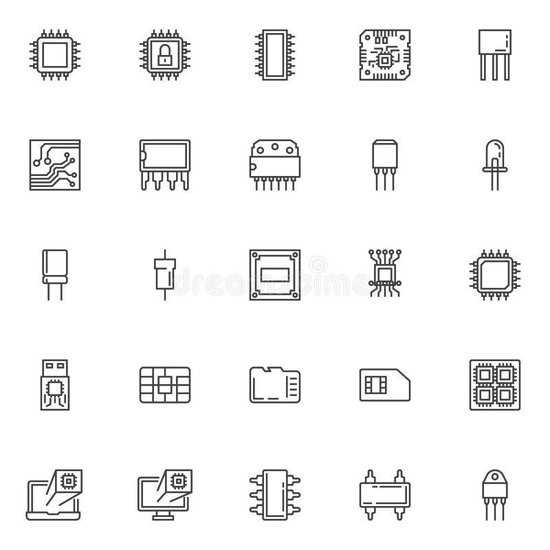 Komputerowe mikroukład linii ikony ustawiać ilustracja wektor