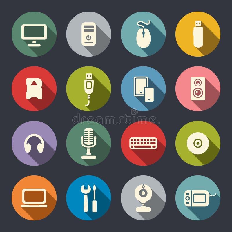 Komputerowe płaskie ikony ustawiać ilustracja wektor