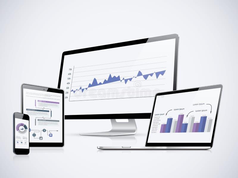 IT komputerowe statystyki wektorowe z laptopem, pastylką i smartphone, ilustracja wektor