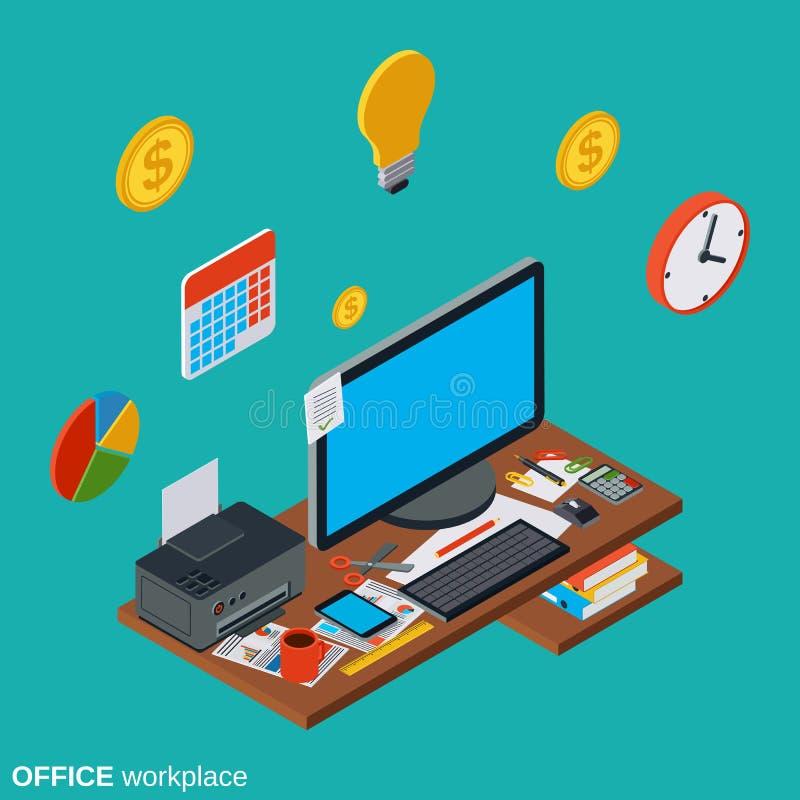 Komputerowego biurowego miejsca pracy isometric wektorowy pojęcie ilustracja wektor