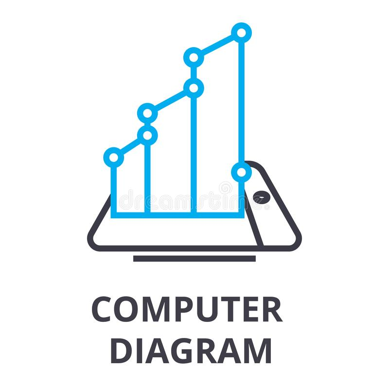 Komputerowego diagrama cienka kreskowa ikona, znak, symbol, illustation, liniowy pojęcie, wektor ilustracji