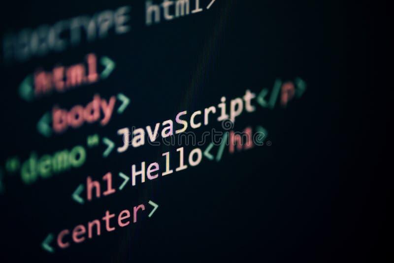 Komputerowego języka programowania javascripta kodu interneta teksta redaktora składników pokazu ekran zdjęcie royalty free