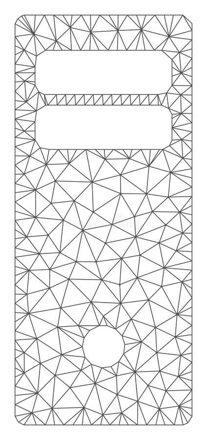 Komputerowego komputer mainframe siatki Poligonalna Ramowa Wektorowa ilustracja ilustracji
