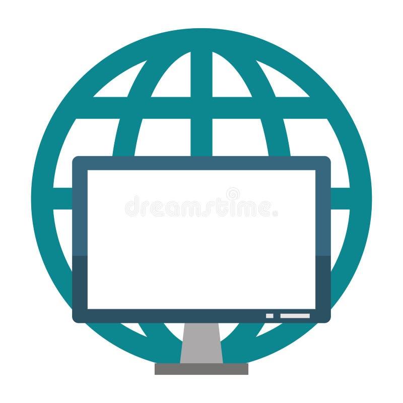 Komputerowego narzędzia ekran z globalnym sfera symbolem ilustracji