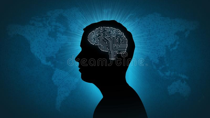 Komputerowego obwodu mózg - mężczyzna przed cyfrowym światem royalty ilustracja