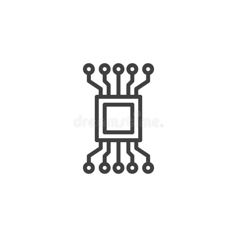 Komputerowego obwodu układu scalonego linii ikona ilustracja wektor