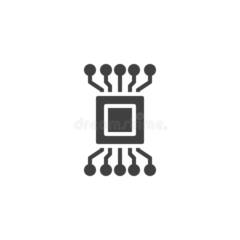 Komputerowego obwodu układu scalonego wektoru ikona royalty ilustracja