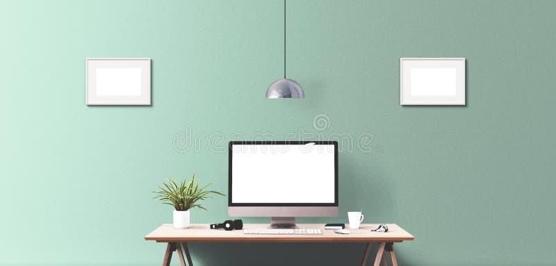 Komputerowego pokazu i biura narzędzia na biurku obraz royalty free