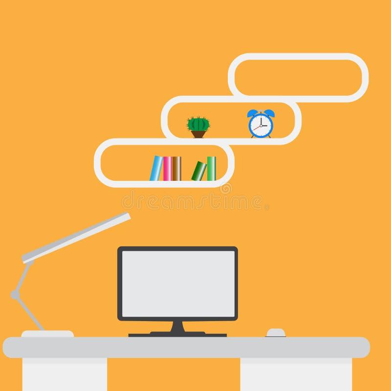 Komputerowego pokazu i biura narzędzia na biurku ilustracja wektor