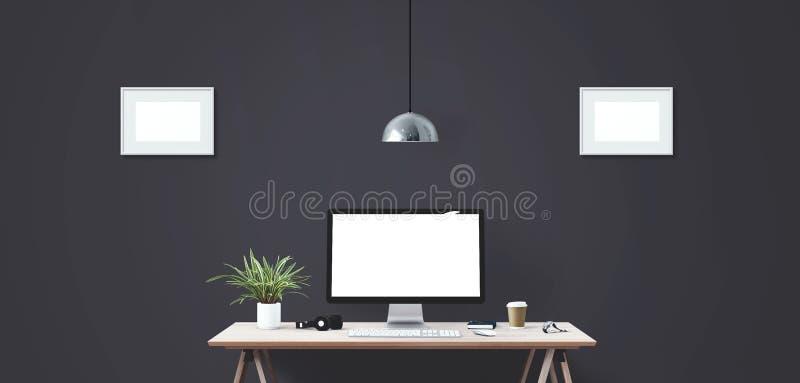 Komputerowego pokazu i biura narzędzia na biurku Komputeru stacjonarnego ekran royalty ilustracja
