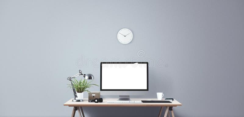 Komputerowego pokazu i biura narzędzia na biurku Komputeru stacjonarnego ekran ilustracji