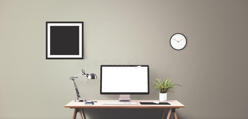 Komputerowego pokazu i biura narzędzia na biurku Komputeru stacjonarnego ekran ilustracja wektor