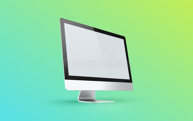 Komputerowego pokazu i biura narzędzia na biurku Komputeru stacjonarnego ekran odizolowywający ilustracji