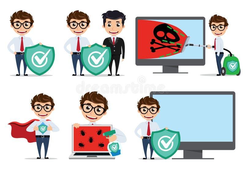 Komputerowego programisty wektorowy charakter - set Komputerowy technik używa antivirus zastosowania komputery ilustracja wektor