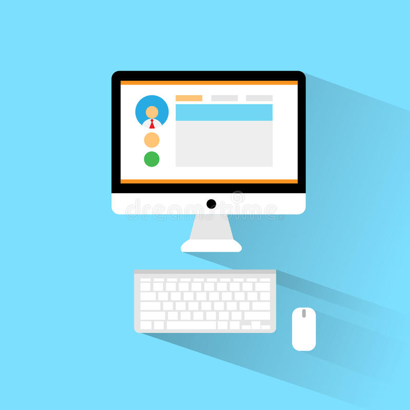 Komputerowego staci roboczej miejsca pracy ikony płaski projekt royalty ilustracja