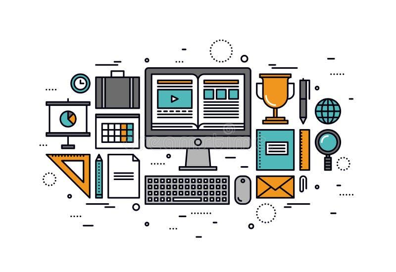 Komputerowego szkolenia kreskowego stylu ilustracja ilustracja wektor