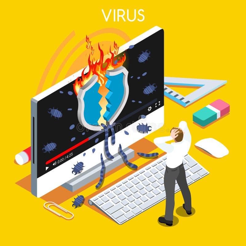 Komputerowego wirusa Isometric ludzie ilustracja wektor
