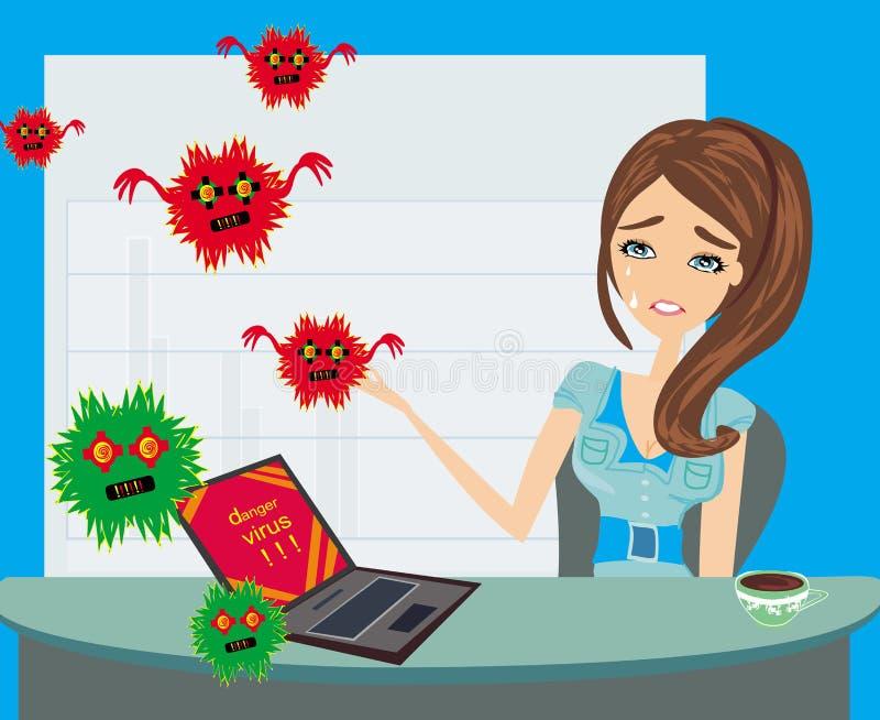 Komputerowego wirusa napadania laptop w biurze ilustracji