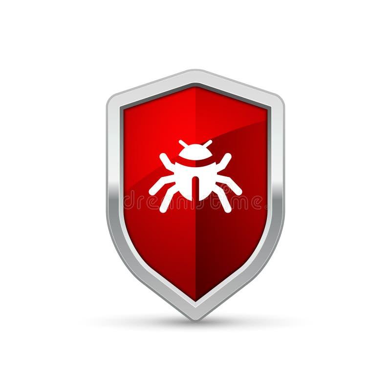 Komputerowego wirusa osłony znaka ostrzegawczy trojańczyk Ochrona interneta ochrony wirusa ostrzeżenia infekcja ilustracja wektor