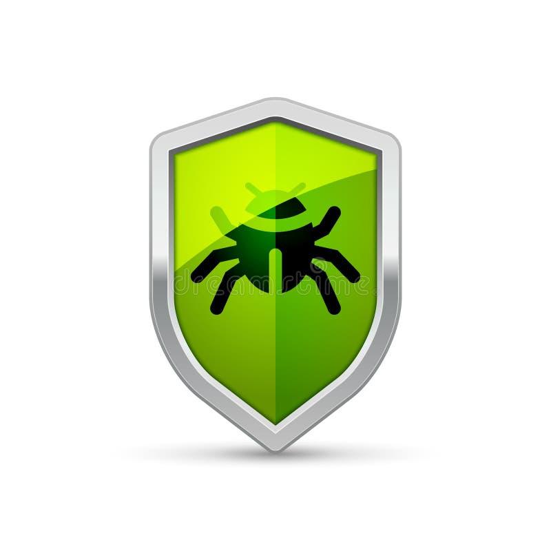 Komputerowego wirusa osłony znaka ostrzegawczy trojańczyk Ochrona interneta ochrony wirusa ostrzeżenia infekcja royalty ilustracja