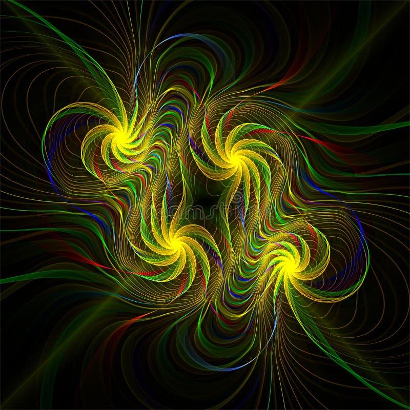 Komputerowej cyfrowej fractal sztuki abstrakcjonistyczni factals cztery stylizującego koloru żółtego kwiatu royalty ilustracja