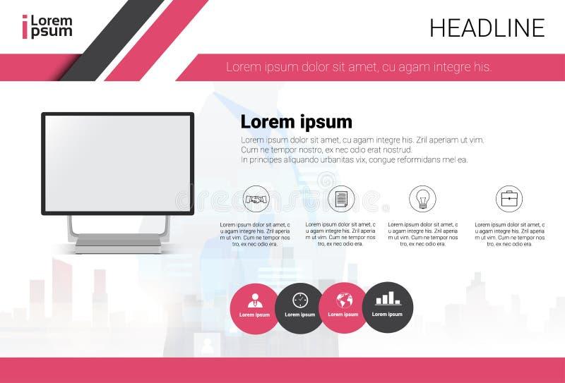 Komputerowej dane Infographic kopii Ustalonej przestrzeni teksta biznesu Kolorowy sztandar ilustracja wektor
