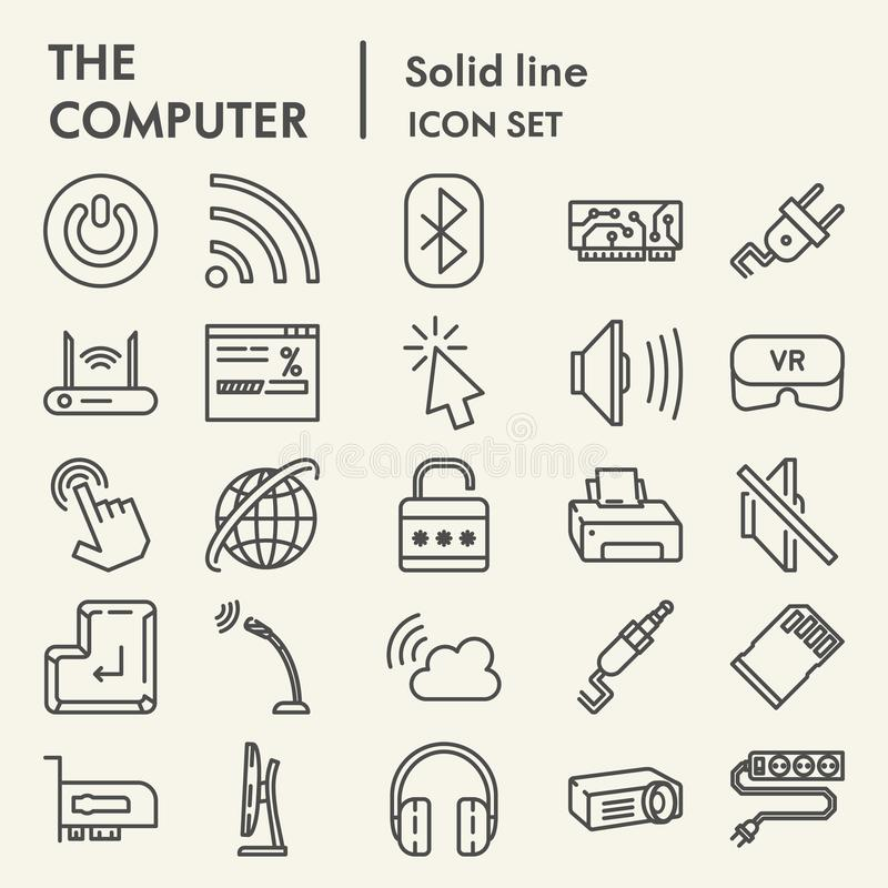 Komputerowej linii ikony set, cyfrowi symbole kolekcja, wektor kreśli, logo ilustracje, sieć znaków liniowi piktogramy ilustracja wektor