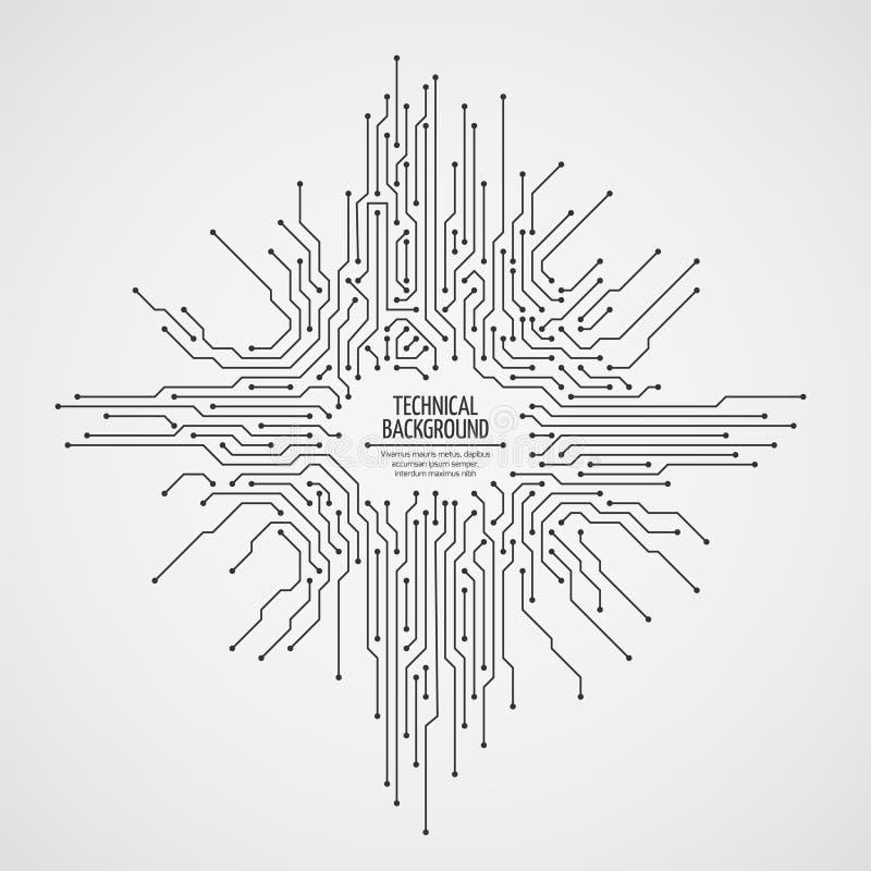 Komputerowej płyty głównej wektorowy tło z obwód deski elektronicznymi elementami royalty ilustracja
