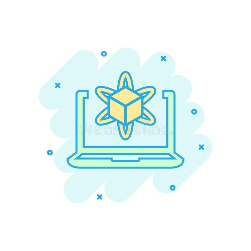 Komputerowej symulacji ikona w komiczka stylu Vr przyrządu kreskówki wektorowa ilustracja na białym odosobnionym tle Technologia  ilustracji