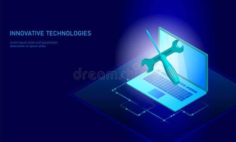 Komputerowej usługa naprawy isometric laptop 3d pomocy technicznej błękitnego płaskiego śrubokrętu sztandaru przyszłościowy nowoż ilustracji