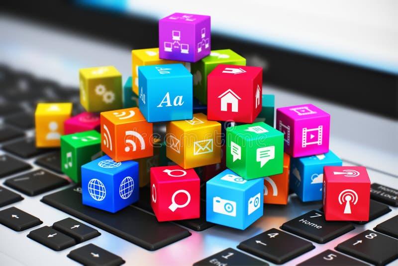 Komputerowi środki i internet komunikaci pojęcie ilustracja wektor