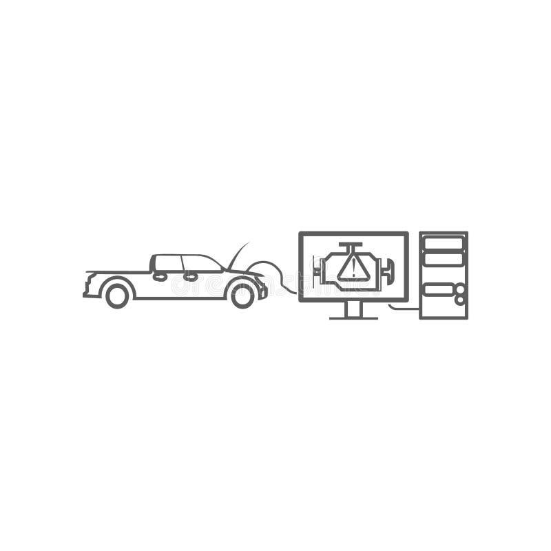 Komputerowi diagnostycy samochodowa ikona Element Samochodowy repear dla mobilnego poj?cia i sieci apps ikony Kontur, cienieje kr royalty ilustracja