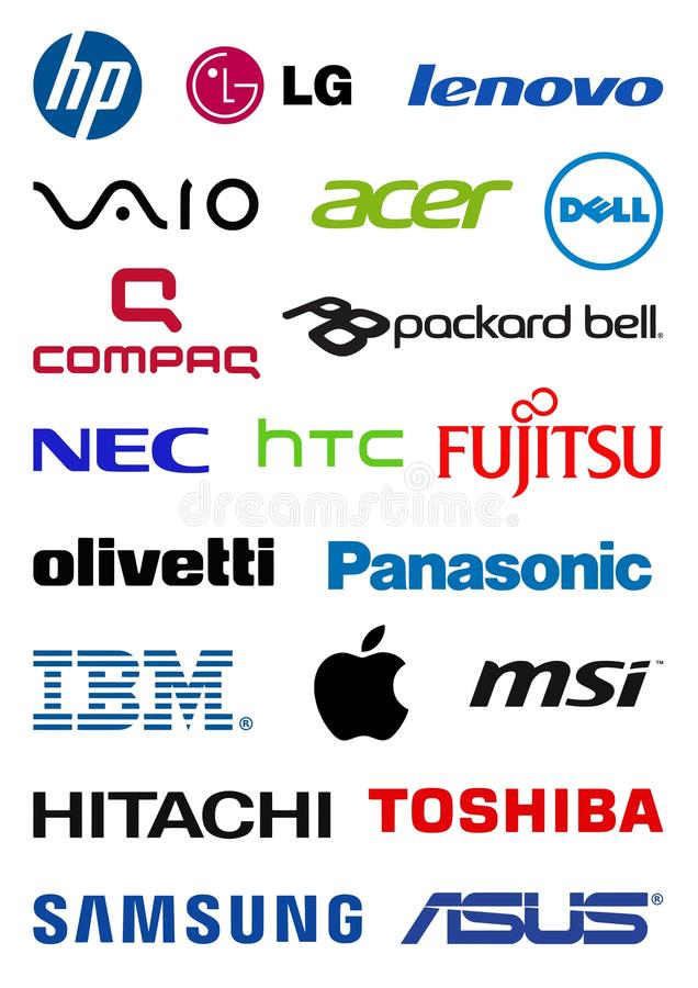 Komputerowi producentów logowie ilustracji