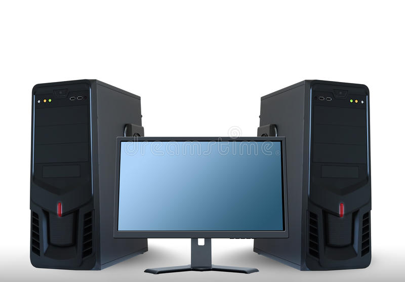 Komputerowi serwery i lcd monitor ilustracji