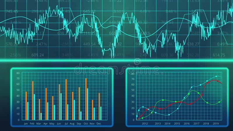 Komputerowi wykresy kraju ` s GDP przyrost, rozwój gospodarczy prognoza, handel ilustracji