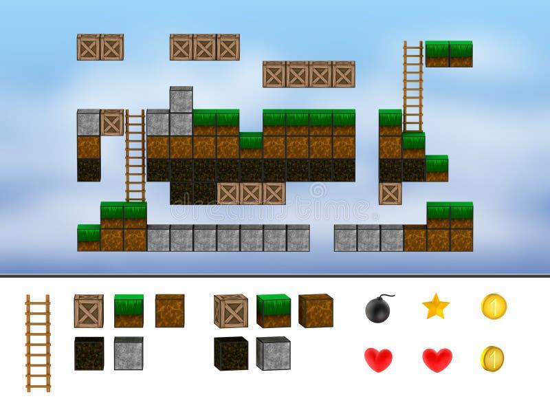 Komputerowy arkady gry poziom. Sześciany, drabina, ikony.