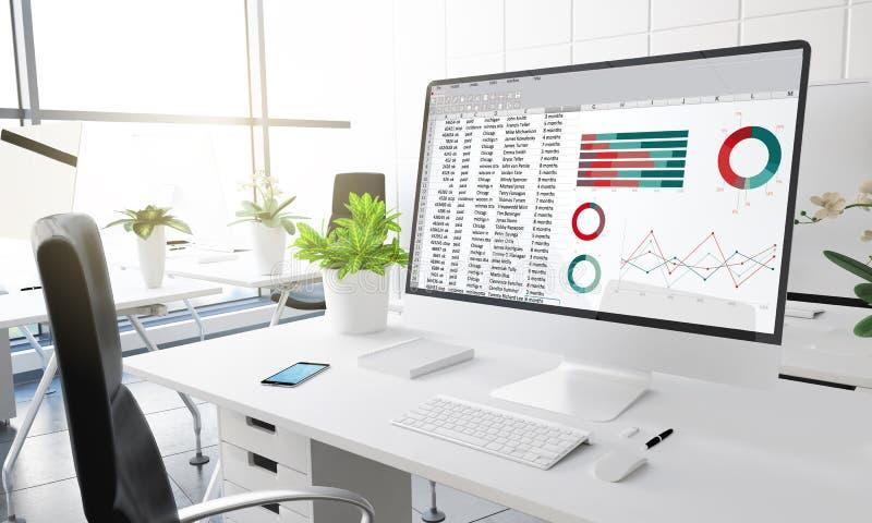 komputerowy biurowy pieniężnego planowania księgowości raport ilustracji