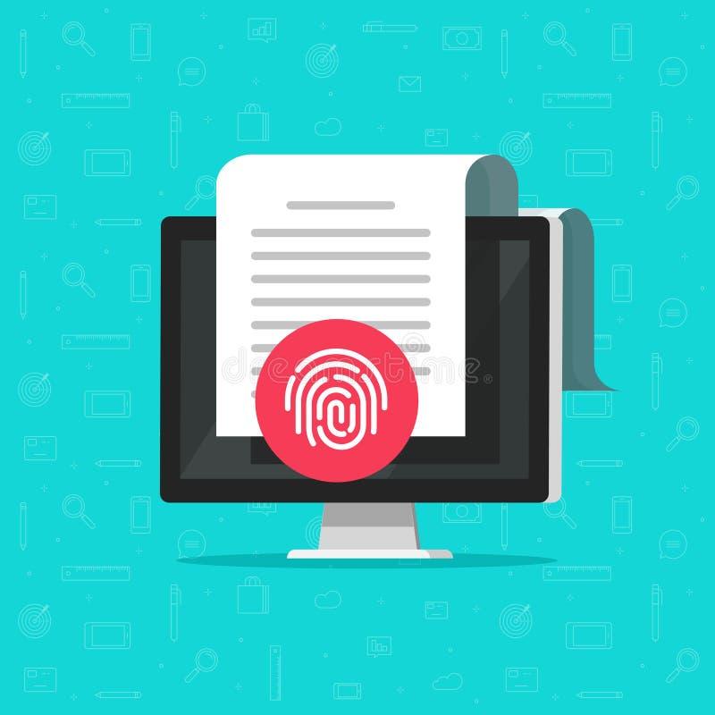 Komputerowy dokument ochrony wektor, płaski kreskówka komputer stacjonarny z dokumentem ochraniającym przez odcisk palca ikony, p ilustracja wektor