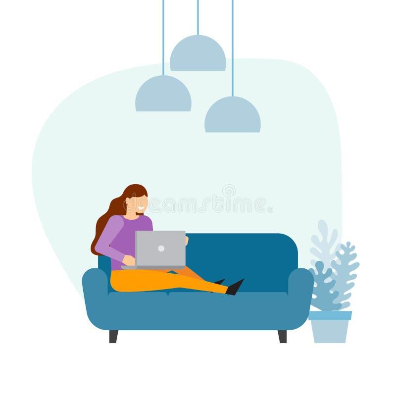 komputerowy domowy laptop używać kobiety ilustracja wektor