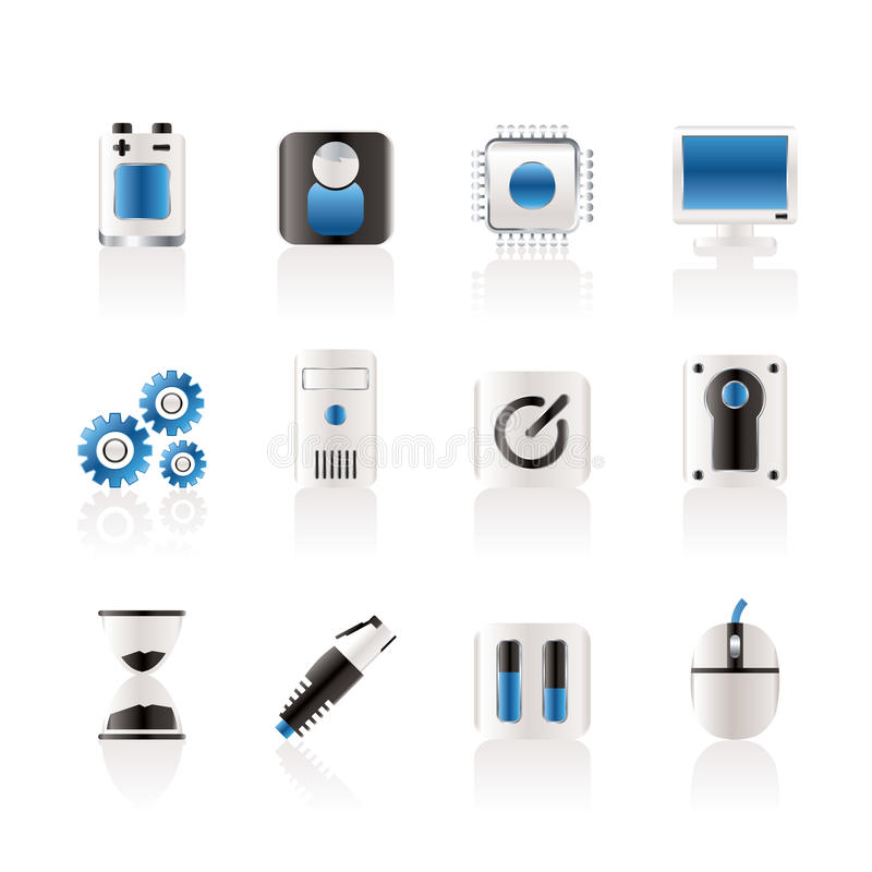komputerowy elementów ikon telefon komórkowy ilustracji