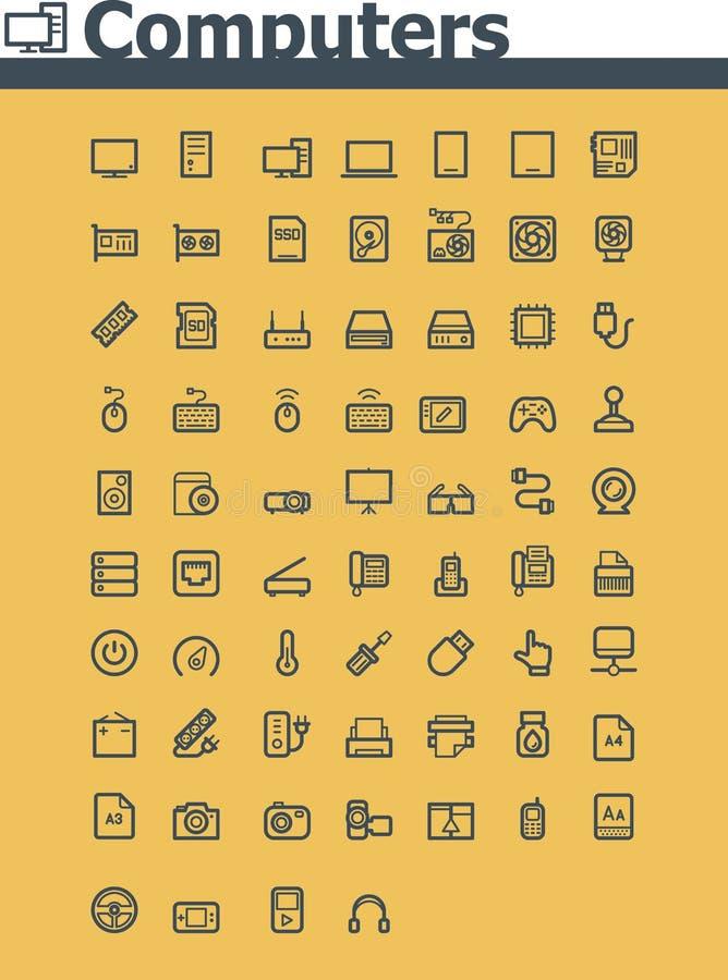 Komputerowy ikona set royalty ilustracja