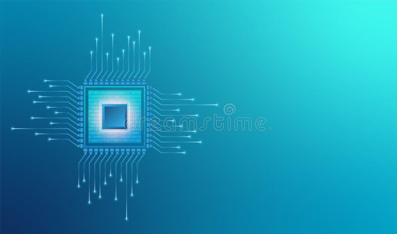 Komputerowy jednostka centralna procesoru systemu uk?ad scalony Abstrakcjonistyczny dane przep?ywu binarny kod w sedno mikrouk?ad ilustracji