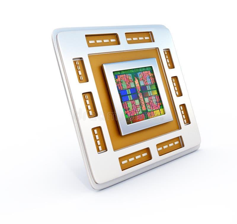 Komputerowy jednostka centralna układ scalony (środkowego procesoru jednostka) ilustracji