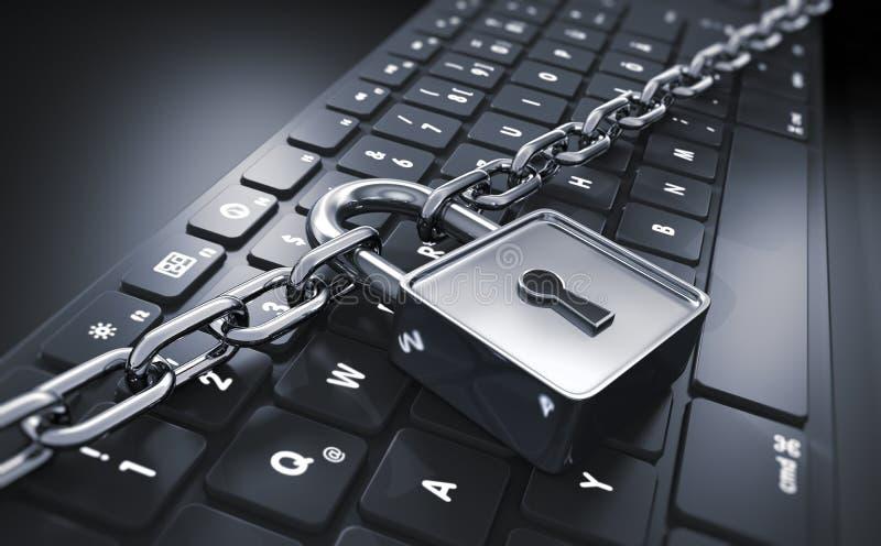 Komputerowy kędziorek i łańcuch - pojęcie ochrona ilustracja wektor