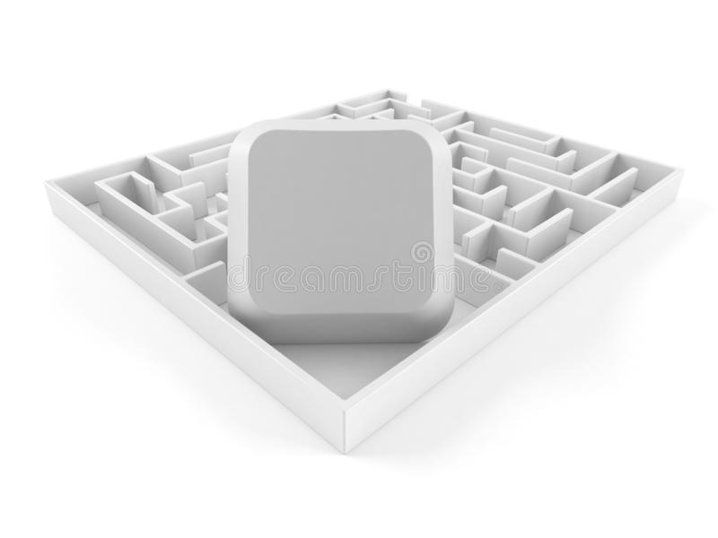 Komputerowy klucz wśrodku labiryntu royalty ilustracja