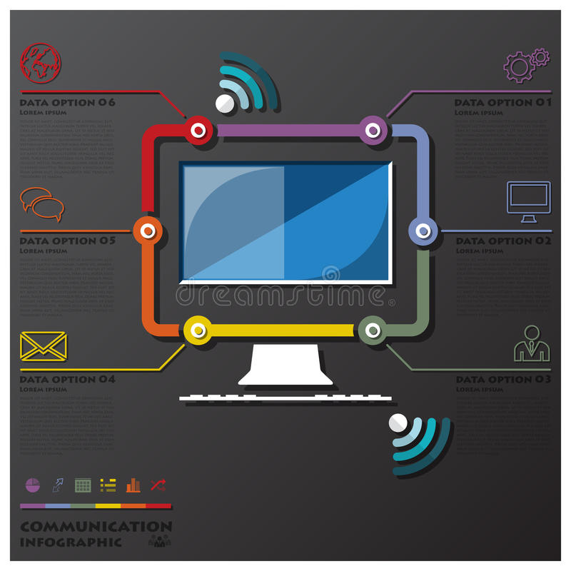 Komputerowy Komunikacyjny Podłączeniowy linia czasu biznes Infographic ilustracji